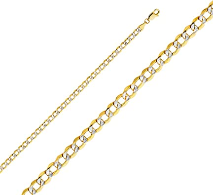 6 Wellingsale 14k Yellow Gold Polished 3mm ID Concave Curb Bracelet with Lobster Claw Clasp