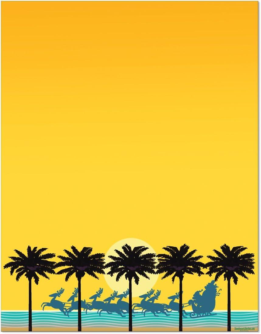 Christmas Tropical Beach Sunset Stationery - 8.5 x 11-60 Christmas Letterhead Sheets (Sunset)