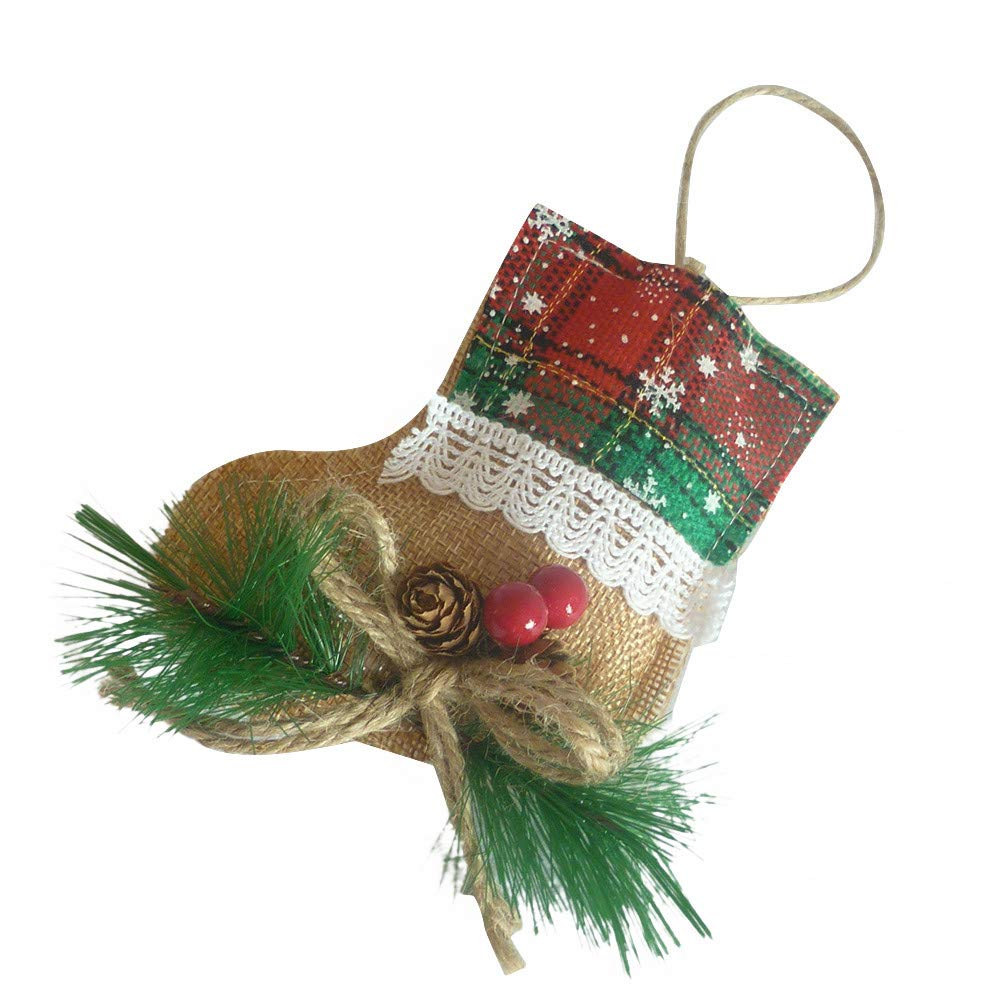 Christmas Linen Hanging Ornament Xmas Tree Star Bell Sock Party Home Decor