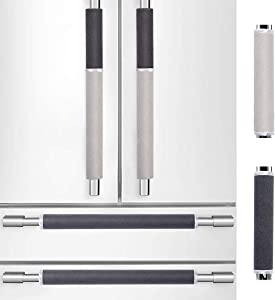 MRKG. Refrigerator Door Handle Covers, Set of 6, Keep Your Kitchen Appliance Clean from Smudges, Drips, Food Stains, Oil. Washable Without Fading or Cracking. (Black&Grey)