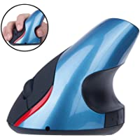 TECHVIDA 2.4 GHz WiFi Ratón Inalámbrico Ergonómico Recargable 5 Botones USB Mouse Óptico Forma Vertical Wireless Protege el Brazo (Azul)