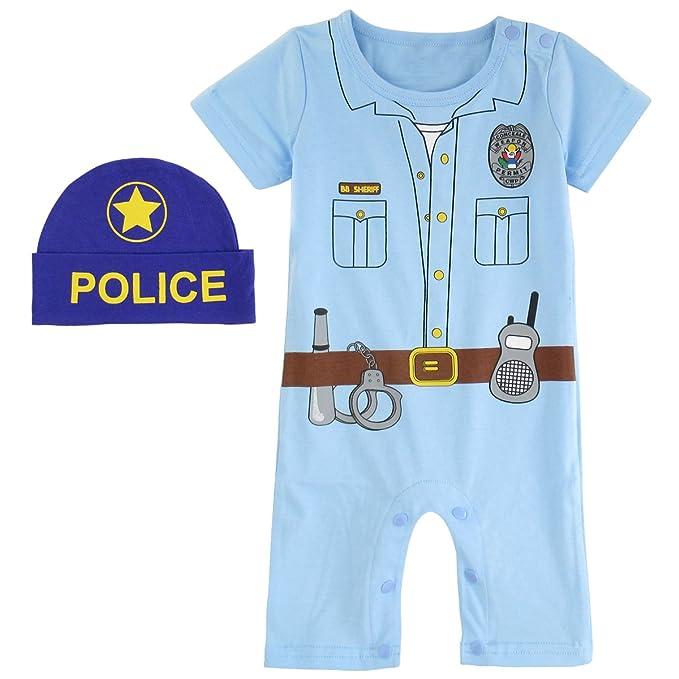 Mombebe Mono Bebé Niños Policía Disfraz Mameluco Pelele con Sombrero (Policía, 6-12