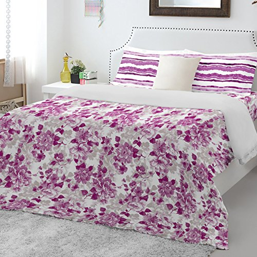 Spaces Atrium 144 TC Cotton Double Bedsheet with 2 Pillow Covers – Purple