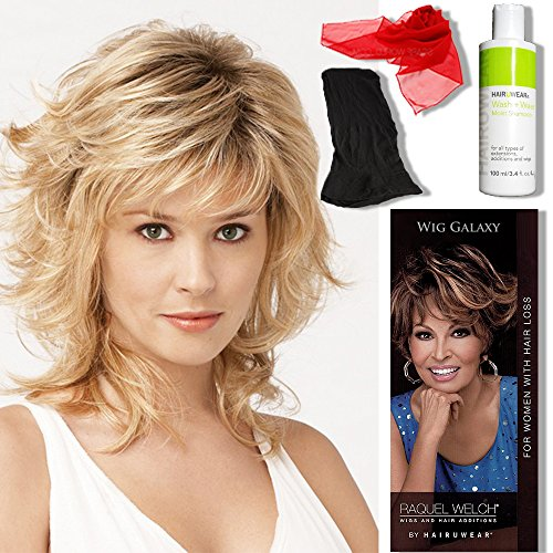 Bundle - 5 items: Tress by Raquel Welch Wigs, Chiffon Scarf, Hairuwear Synthetic Shampoo, Hairuwear Hairloss Booklet, Wig Cap Liner, Color Chosen: R3329S by Raquel Welch Wigs