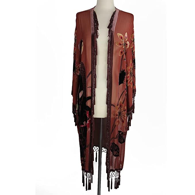 1920s Style Wraps Aris A Hand-Beaded Silk Velvet Burnout Kimono $102.00 AT vintagedancer.com