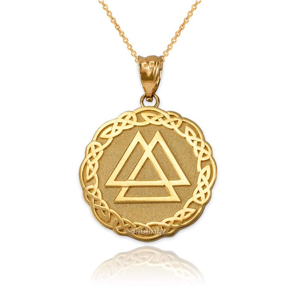 LA BLINGZ 10K Yellow Gold Celtic Valknut Pendant Necklace