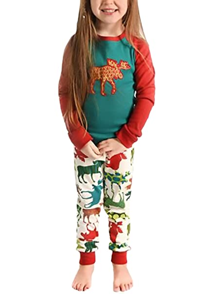 Conjunto De Pijama de 2 Piezas Pijama Ropa De Dormir Joven Bastante Familia De Fashion Casual Otoño Invierno Fiestas Navidad Moose para Mamá Papá Niños ...