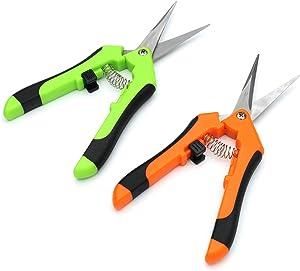 Anmeilexst 2 Pcs Stainless Steel Garden Trim Scissors, Flowers, Branches, Trim Scissors, Stainless Steel Blade Scissors (Green, Orange)