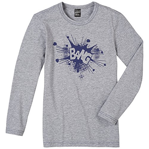 Schiesser Jungen Schlafanzugoberteil Shirt 1/1, Gr. 140, Grau (grau-mel. 202)