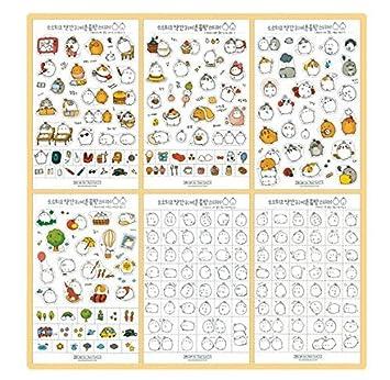 Inovat Cute 'Molang Rabbit' Bunny Rabbit Charactor Sticker Diary Scrap Book Scrapbooking Decor Decoration 6 Sheets Lot Korean Stationery, Version 1st Haiker