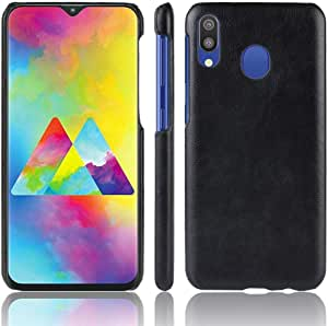 Samsung Galaxy M20 Litchi Skin Leather coated case cover - Black.