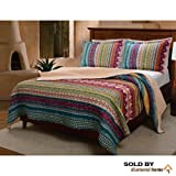 3 Piece Southwest Country Lodge Bedding Quilt Print Set, Vibrant Western Colors, Native Tribal Art Motif Pattern, Cotton Reversible Bedding (King)