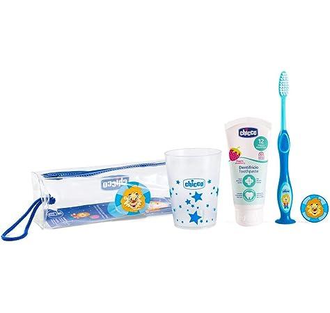 Chicco - Set cepillo de viaje: cepillo d edientes + pasta + estuche + vaso, color azul: Amazon.es: Bebé