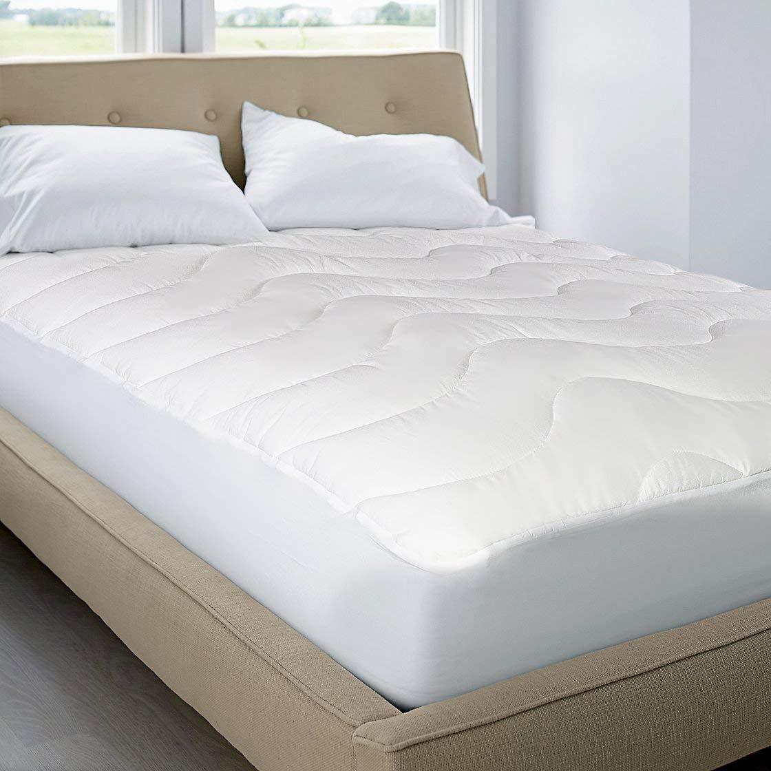 Blue Ridge Home Fashions 350 Thread Count Cotton Damask Dual Action Mattress Pad Queen White