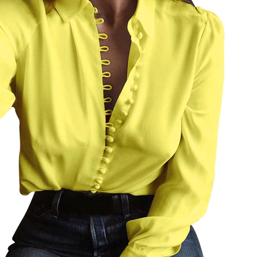 Fossen Mujer Blusa de Manga Larga Botones Camisetas de Baratas en Oferta Blusas de Mujer Elegantes de Fiesta 2018
