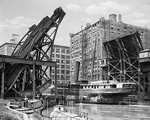 Restored 16x20 Black & White Photo - Historic Chicago, Illinois - Jack Knife Bridge, c1907