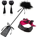 Pack 3 Set Love Flirting Whip with Feather Leather Slapper Satin Eye Mask Blindfold Nipple Cover Pasties Stickers