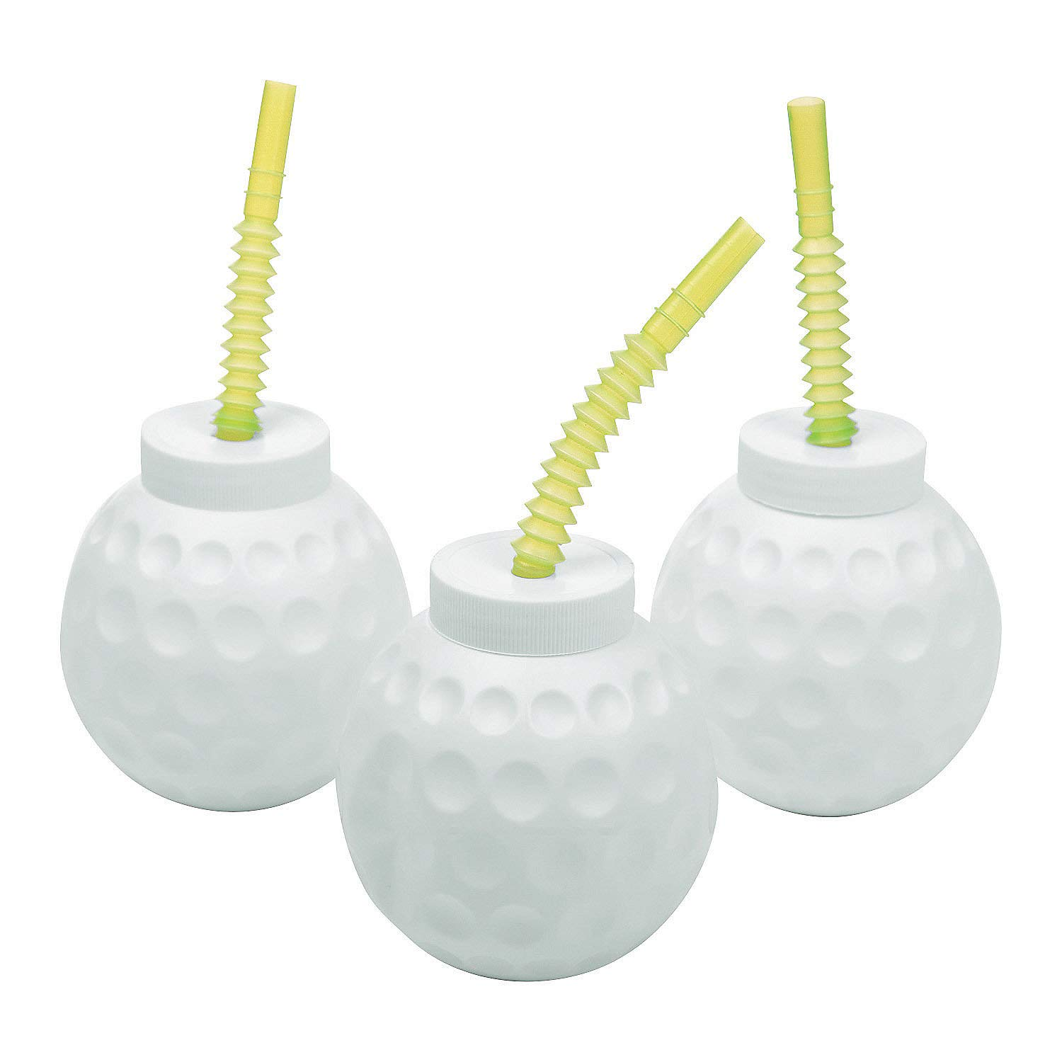 Golf Ball Cups with Straws (12 of 14 oz cups) Birthday and Golf Party Supplies by Fun Express