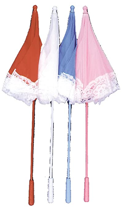 Victorian Inspired Womens Clothing Parasol Nylon Ruffle - Costume Accessory - White $19.88 AT vintagedancer.com