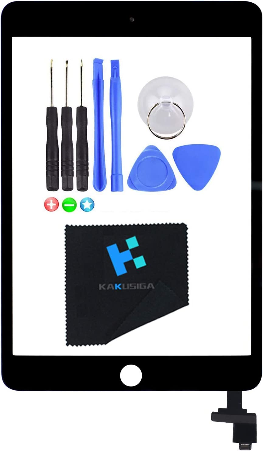 KAKUSIGA Compatible with iPad Mini 3 (3rd Generation) Display Touch Screen Digitizer Glass OEM Assembly, IC Chip, Adhesive Tape, and Repair Toolkit Without Home Button,not an LCD(Black)