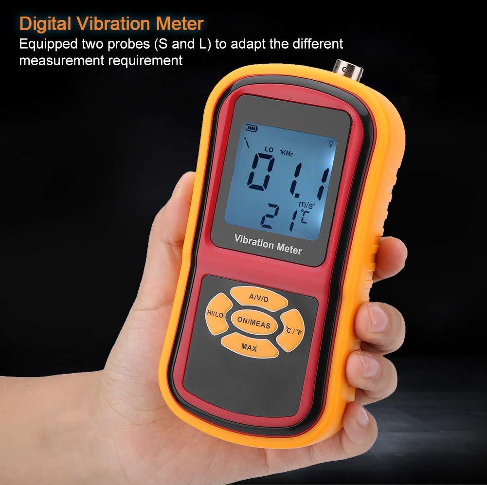 Mini medidor de vibraci/ón digital port/átil con pantalla LCD con sonda 0-40 ℃