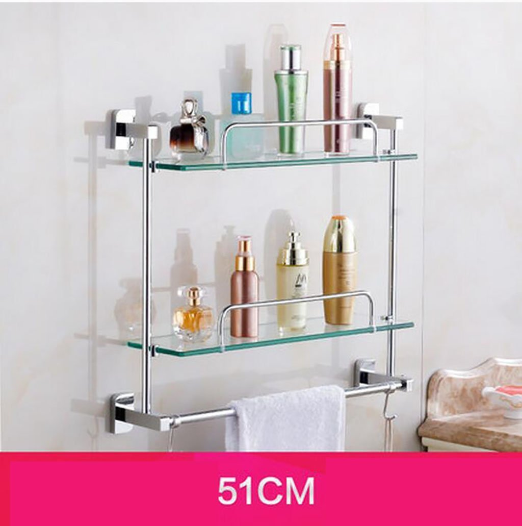 YAOHAOHAO Bathroom shelving bath rooms, glass on a shelf, shelf, TOILET BATH ROOMS Bath Rooms rack with double glazing, bath rooms towel rail (Size: 51 cm).