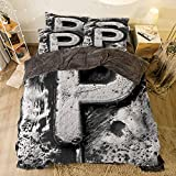 What Is a European King Size Bed All Season Flannel Bedding Duvet Covers Sets for Girl Boy Kids 4-Piece Full for Bed Width 6.6ft Pattern by,Letter P,Capital P What is Your Name Baroque Styled Gothic Medieval Fashion Aged Initials,B