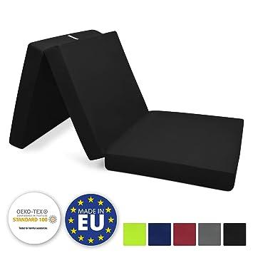 Beautissu Cómodo colchón Plegable Campix Auxiliar futón 80 x 195 x 10 cm Ahorra Espacio Tela Microfibra Negro: Amazon.es: Hogar