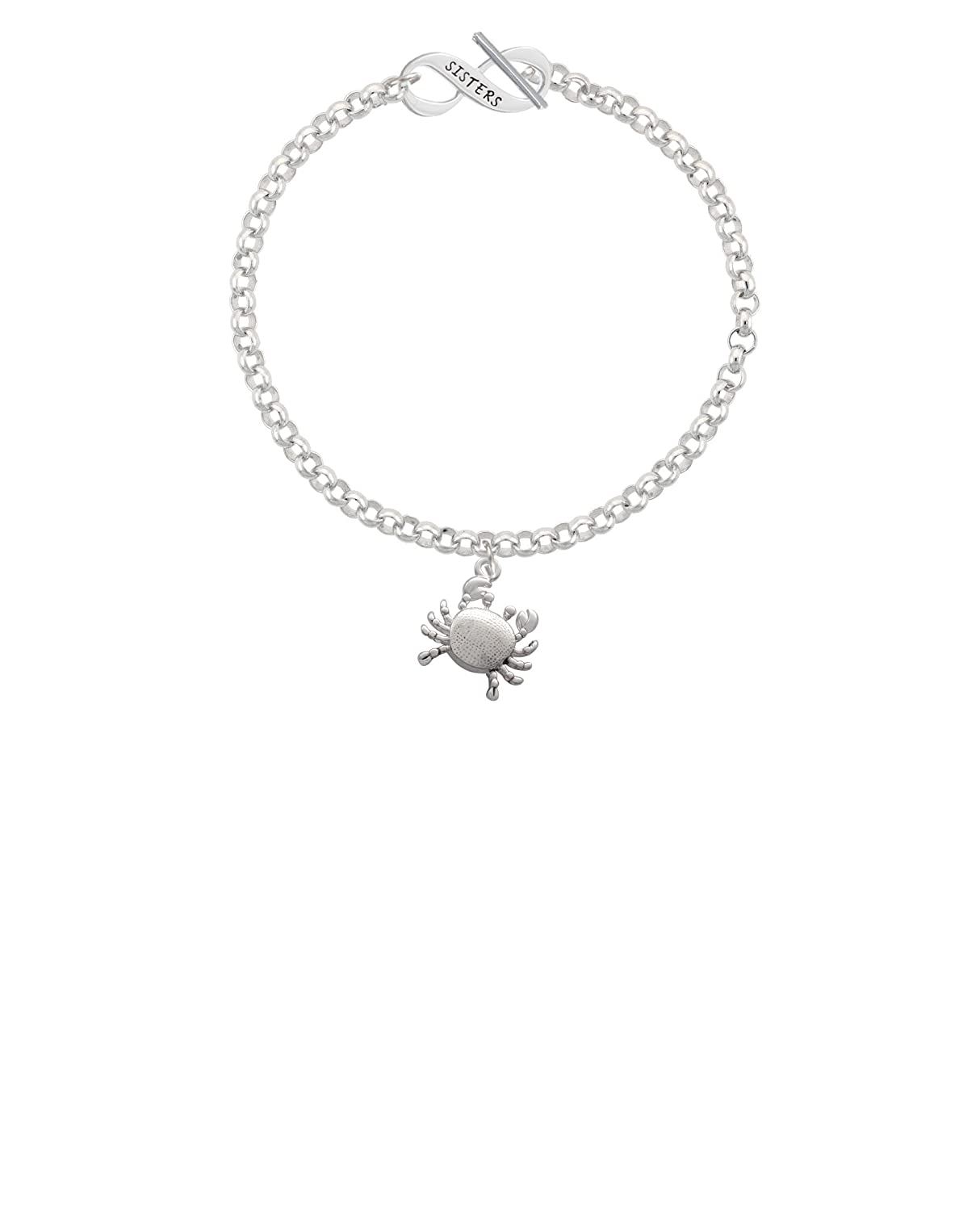 8 Silvertone Antiqued Crab Sisters Infinity Toggle Chain Bracelet