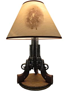 Resin Table Lamps Old West Triple Six Shooter Revolver Table Lamp 10 X 19 X  7