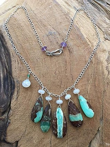 Healing Heart Chrysoprase Necklace with faceted Opal Chain Chrysoprase and Opal Necklace