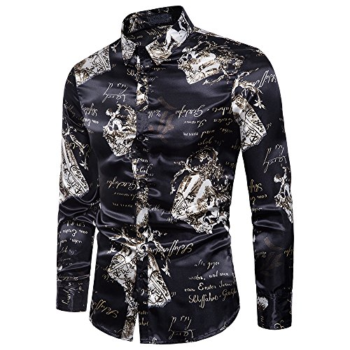 YIMANIE Mens Regular Fit Long Sleeve Shiny Silk Like Satin Dance Prom Luxury Dress Shirt Camouflage Tops (Black&White, (Man Fashion Silk)