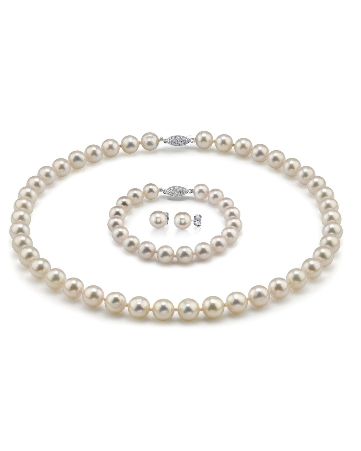 THE PEARL SOURCE 14K Gold 7-7.5mm Hanadama Quality Round White Akoya Cultured Pearl Necklace, Bracelet & Earrings Set in 18'' Princess Length for Women by The Pearl Source