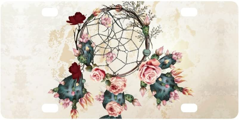 InterestPrint Bohemian Boho Design with Indian Dream Catcher and Rose Flowers Automotive Metal License Plates Decor Decoration, Car Tag for Woman Man - 12 x 6 Inch