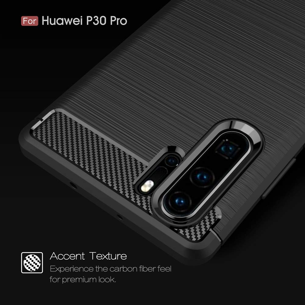 AILRINNI Case for Huawei P30 PRO, Shockproof Brushed Rugged Grip Case, Flexible Silicone Cover with Carbon Fiber Design for Huawei P30 PRO, Black