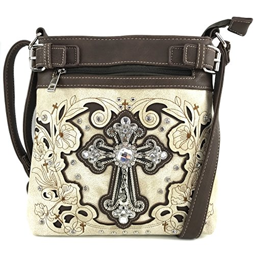 Justin West Cowgirl Western Rhinestone Cross Floral Embroidery Studded Concealed Carry Handbag Purse Trifold Crossbody Messenger Bag Wallet (Beige Busy (Studded Cross Messenger)