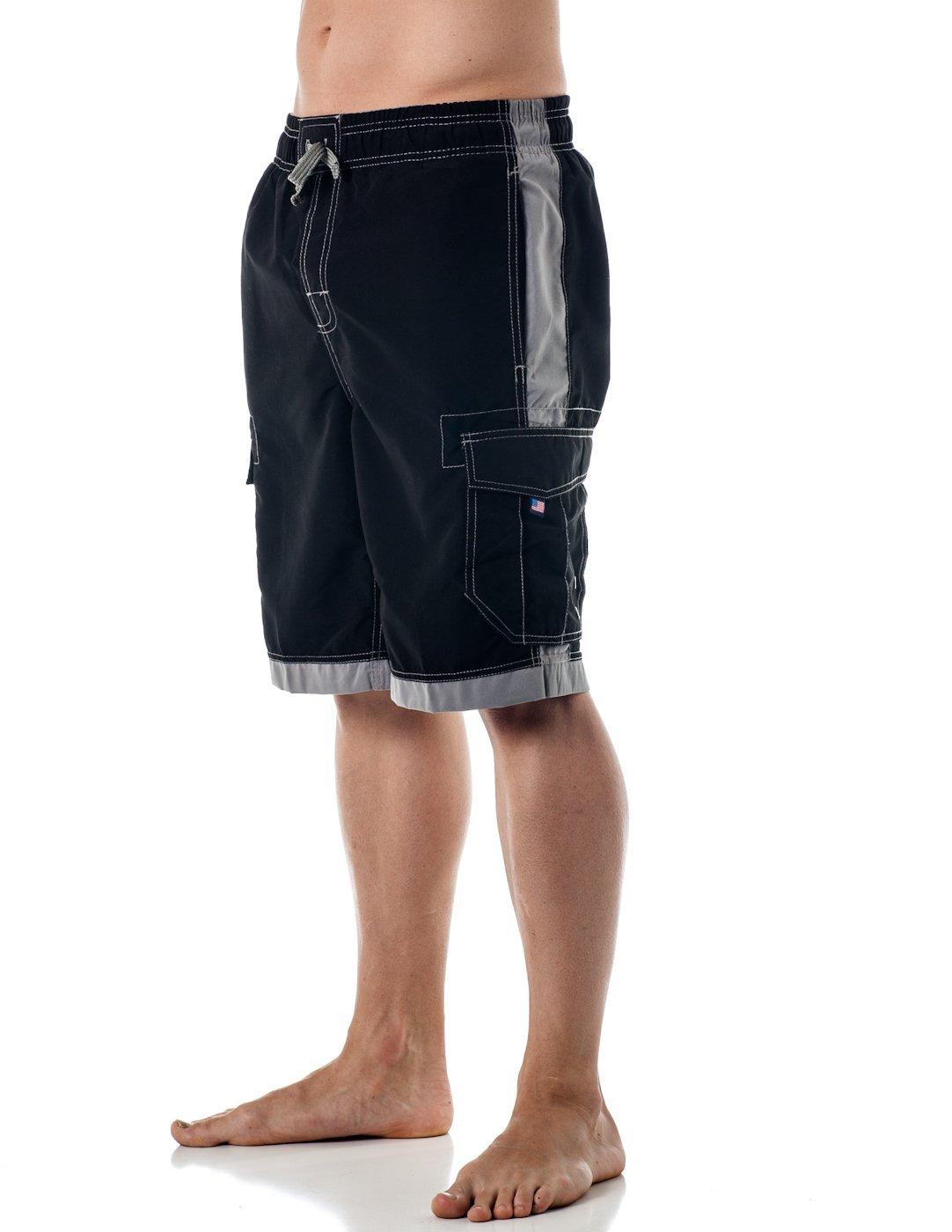 Alki'i Men's Boardshorts - Solid Colors Team USA, Large, Black