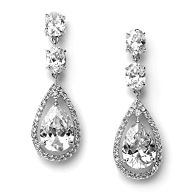 Amazoncom USABride Earrings Silver Plated Cubic Zirconia Tear Drop