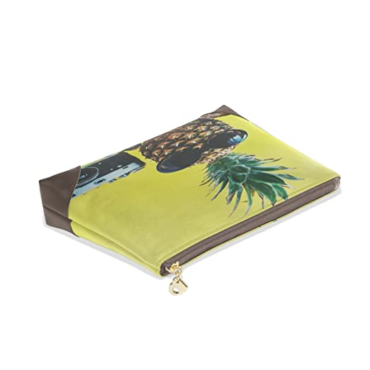88fee26436e5 Amazon.com : POUKE Cosmetics Bag Genuine Leather Retro Pineapple ...