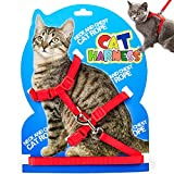 Cat Harness Leash, Adjustable H Harness Nylon Strap Collar with Leash, Dogs Leash and Harness Set, for S M Cat and Pet Walking (Red) …