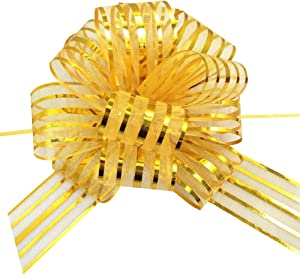 OZXCHIXU 20 Pieces Large Organza Pull Bows Gifts Wrapping Bows for Christmas Easter Gift Baskets, Wedding Party Decor, 6 Inches Diameter(Gold)