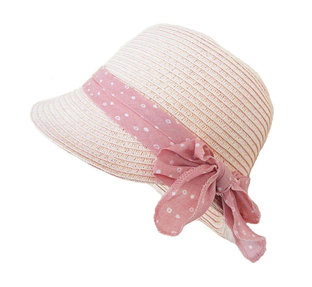 Staw Cloche Panama Hat Girls Babies Children Pink Bowkont Summer Sun Hats doublebulls DH1322A