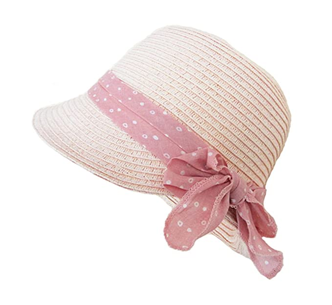 Paglia Cappello Cloche Bimba Bambino Rosa Bowknot Cappelli a Tesa Larga  Cappelli Sole cc46a28cf132