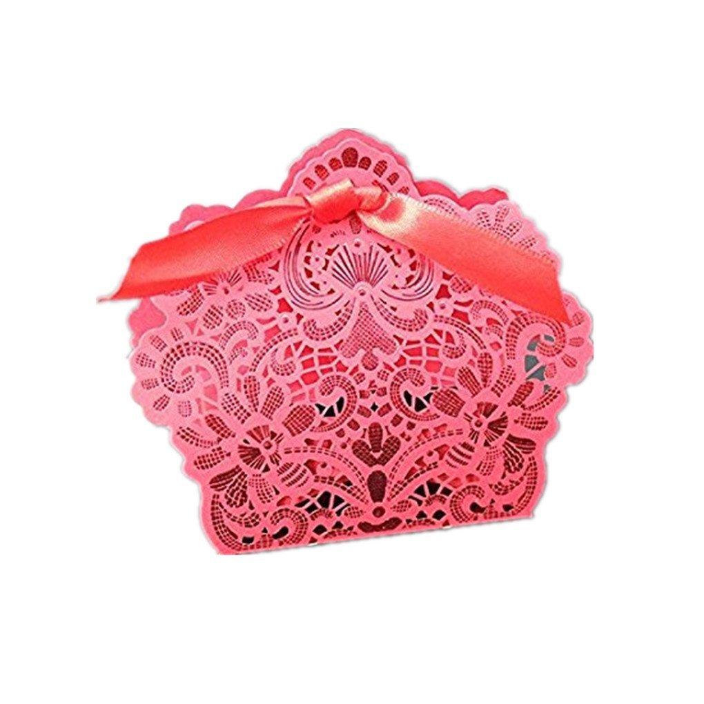 Royal Blue laser Cut favor Candy box doccia con nastri da sposa festa di nozze (50PCS) Dark red SogYupk