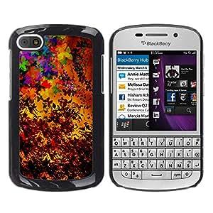 QCASE / BlackBerry Q10 / saisons d'automne colorés art de feuilles de peinture / Delgado Negro Plástico caso cubierta Shell Armor Funda Case Cover