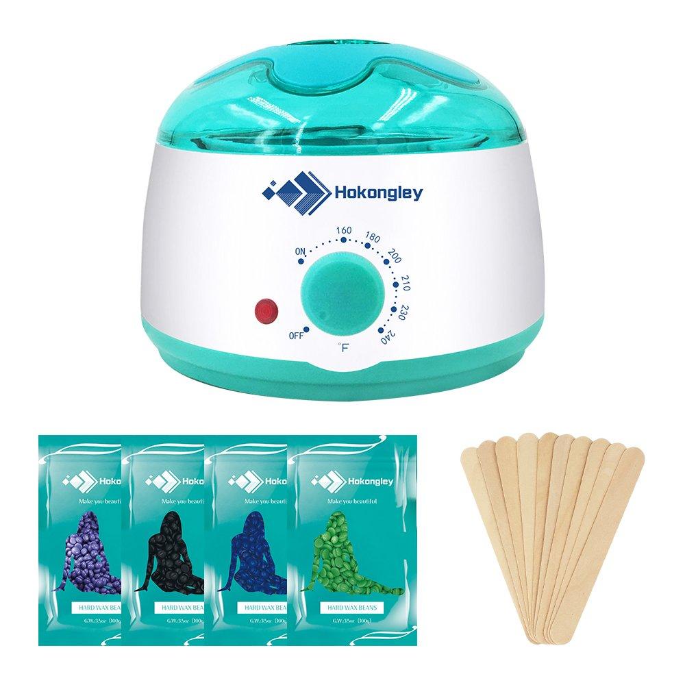Wax Warmer, Hokongley Waxing Kit, Electric Hair Removal, Wax Pot Heater with 4 Hard Wax Beans and 10 Wax Applicator Sticks