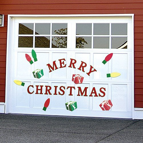 Bandwagon Christmas Garage Door Decals, Red, -