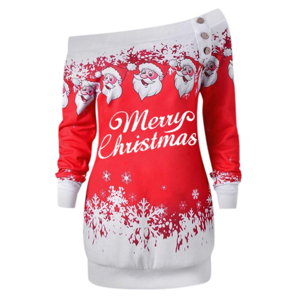 Ulanda Christmas Costume for Women Santa Claus Snowflake Print Long Sleeve Blouse Tunic Shirts