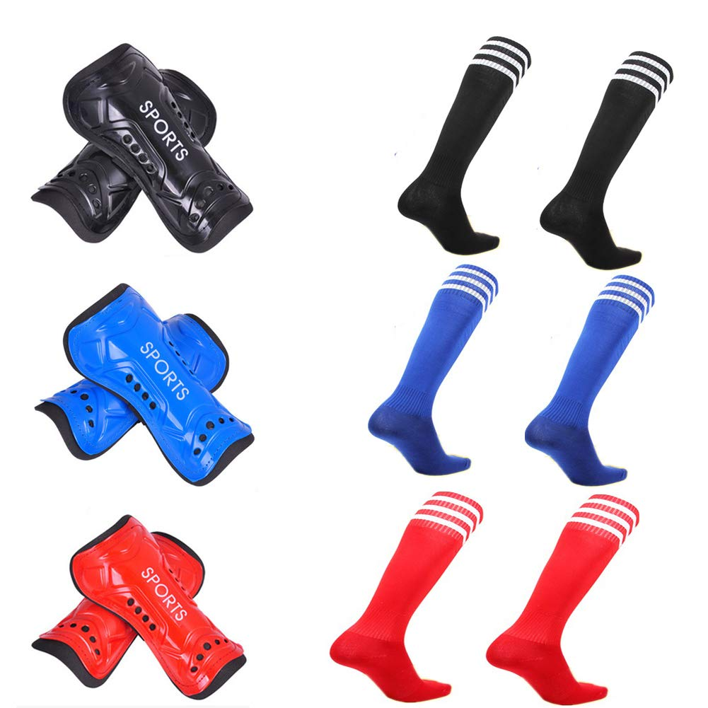 Tamicy 3 Pairs Youth Soccer Shin Guards and 3 Pairs Knee Soccer Socks - Protective Gear Adjustable Perforated Breathable Guard Board and Impact Resistant Youth Kids Soccer Guards Socks for 6-12 Years