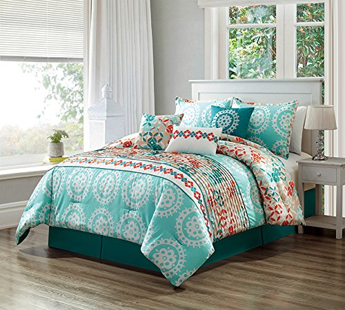 7 Piece Turquoise Blue/Orange/White Scroll Embroidery, Pleated Bed In A Bag Microfiber Comforter Set QUEEN Size Bedding. Perfect For any Bed Room or Guest Room ()